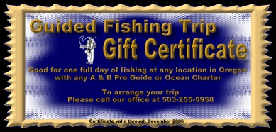 Oregon fishing gift certificates for guides and charters sample purchase a fishing trip gift certificate yelopaper Gallery